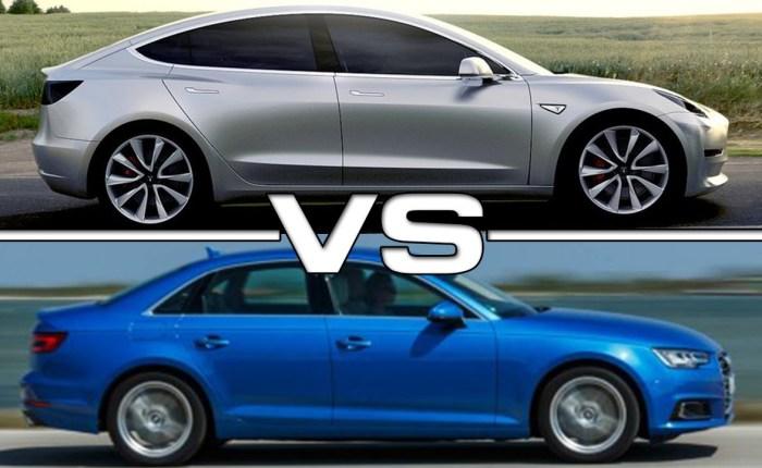 Vergleich Audi A4 mit Tesla Model3